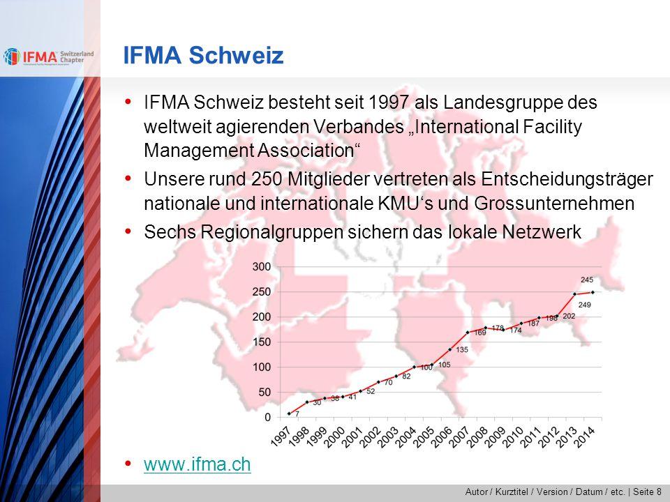 """Autor / Kurztitel / Version / Datum / etc.   Seite 8 IFMA Schweiz IFMA Schweiz besteht seit 1997 als Landesgruppe des weltweit agierenden Verbandes """"I"""