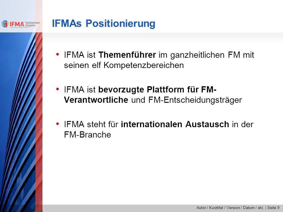 Autor / Kurztitel / Version / Datum / etc.   Seite 9 IFMAs Positionierung IFMA ist Themenführer im ganzheitlichen FM mit seinen elf Kompetenzbereichen