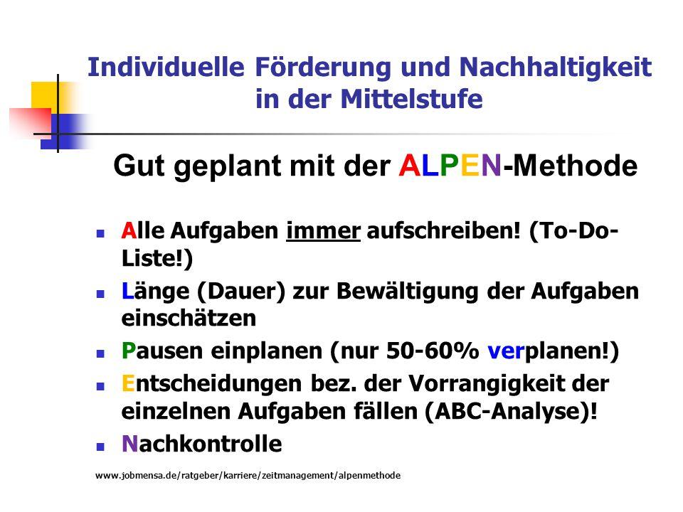 Individuelle Förderung und Nachhaltigkeit in der Mittelstufe Gut geplant mit der ALPEN-Methode Alle Aufgaben immer aufschreiben! (To-Do- Liste!) Länge