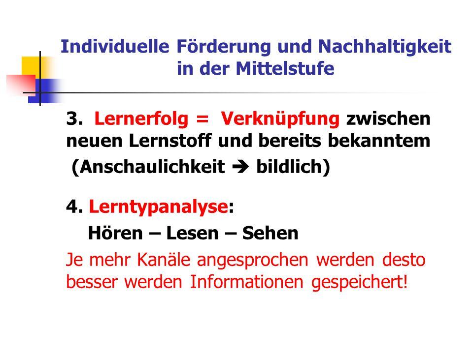 Individuelle Förderung und Nachhaltigkeit in der Mittelstufe 3. Lernerfolg = Verknüpfung zwischen neuen Lernstoff und bereits bekanntem (Anschaulichke