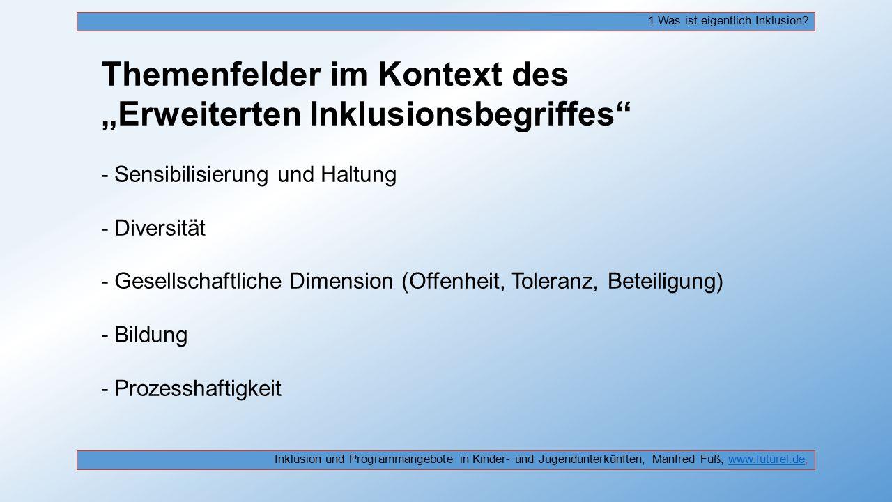 """Themenfelder im Kontext des """"Erweiterten Inklusionsbegriffes"""" - Sensibilisierung und Haltung - Diversität - Gesellschaftliche Dimension (Offenheit, To"""