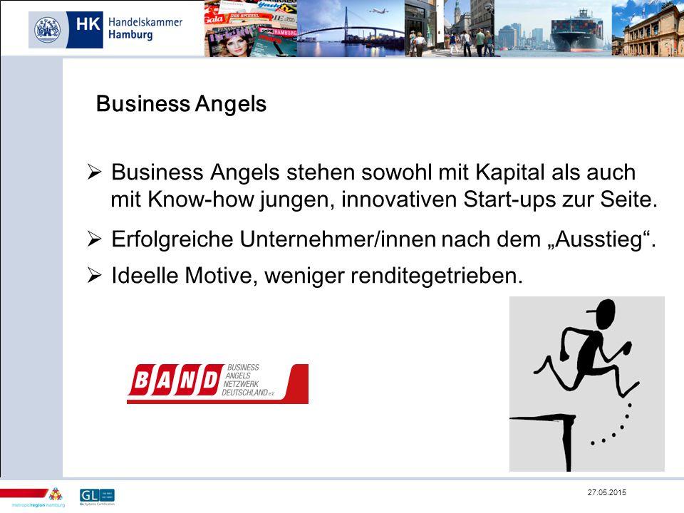Business Angels  Business Angels stehen sowohl mit Kapital als auch mit Know-how jungen, innovativen Start-ups zur Seite.  Erfolgreiche Unternehmer/