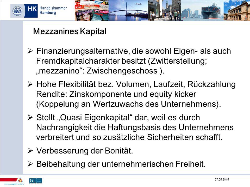 """Mezzanines Kapital  Finanzierungsalternative, die sowohl Eigen- als auch Fremdkapitalcharakter besitzt (Zwitterstellung; """"mezzanino"""": Zwischengeschos"""