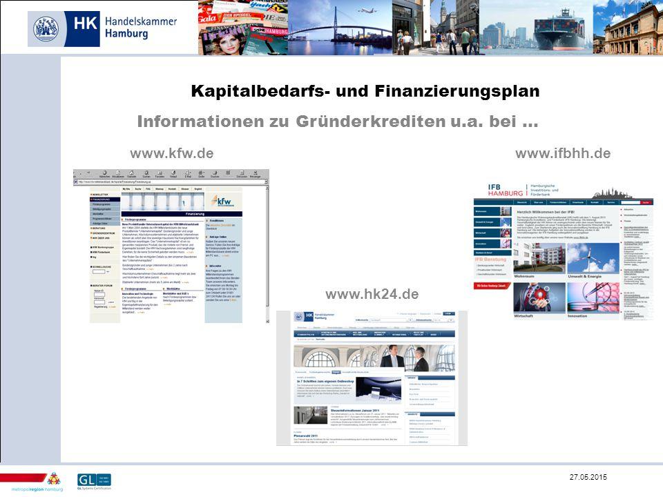 Kapitalbedarfs- und Finanzierungsplan Informationen zu Gründerkrediten u.a. bei... www.kfw.dewww.ifbhh.de www.hk24.de 27.05.2015