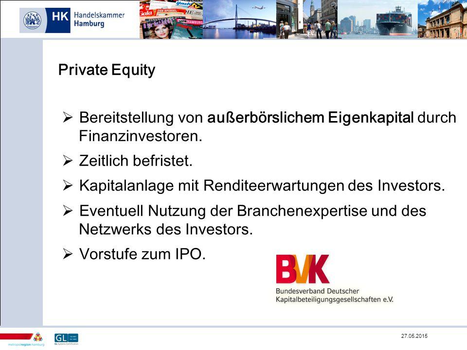 Private Equity  Bereitstellung von außerbörslichem Eigenkapital durch Finanzinvestoren.  Zeitlich befristet.  Kapitalanlage mit Renditeerwartungen