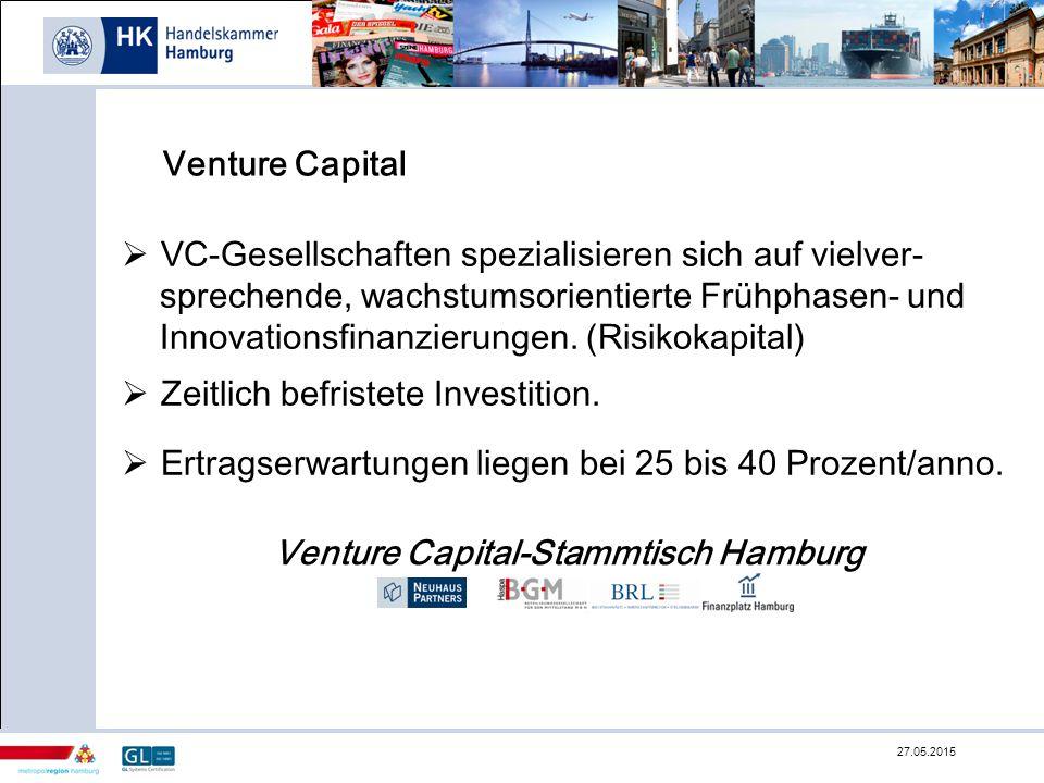 Venture Capital  VC-Gesellschaften spezialisieren sich auf vielver- sprechende, wachstumsorientierte Frühphasen- und Innovationsfinanzierungen. (Risi
