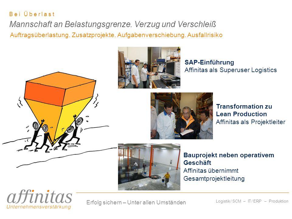 Logistik / SCM – IT / ERP – Produktion Bei Überlast Auftragsüberlastung. Zusatzprojekte. Aufgabenverschiebung. Ausfallrisiko Mannschaft an Belastungsg