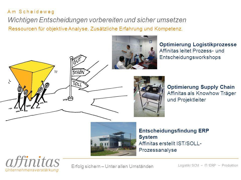Logistik / SCM – IT / ERP – Produktion Am Scheideweg Ressourcen für objektive Analyse. Zusätzliche Erfahrung und Kompetenz. Wichtigen Entscheidungen v