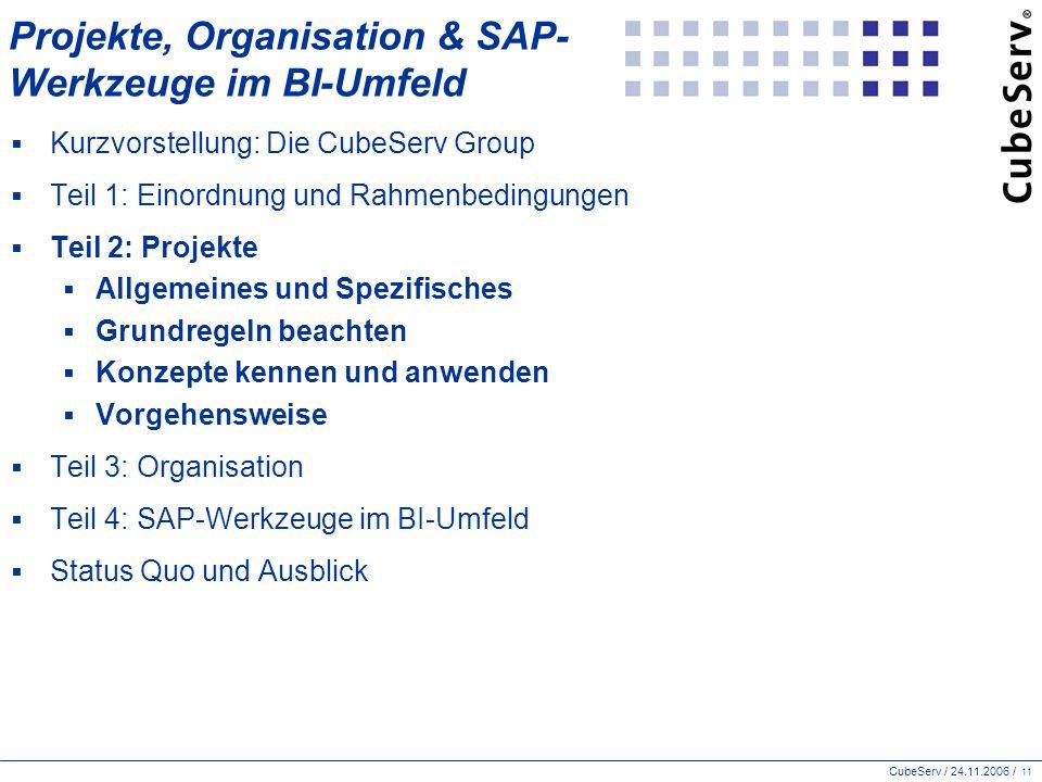 CubeServ / 24.11.2006 / 11 Projekte, Organisation & SAP- Werkzeuge im BI-Umfeld  Kurzvorstellung: Die CubeServ Group  Teil 1: Einordnung und Rahmenbedingungen  Teil 2: Projekte  Allgemeines und Spezifisches  Grundregeln beachten  Konzepte kennen und anwenden  Vorgehensweise  Teil 3: Organisation  Teil 4: SAP-Werkzeuge im BI-Umfeld  Status Quo und Ausblick