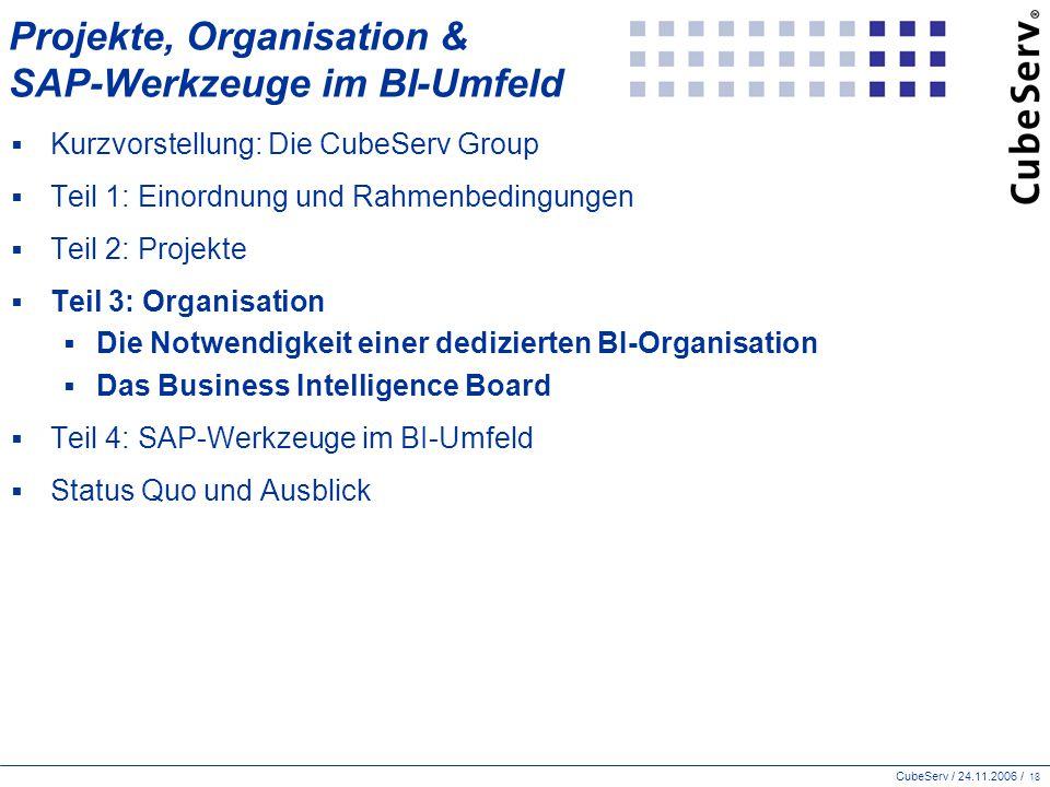 CubeServ / 24.11.2006 / 18 Projekte, Organisation & SAP-Werkzeuge im BI-Umfeld  Kurzvorstellung: Die CubeServ Group  Teil 1: Einordnung und Rahmenbedingungen  Teil 2: Projekte  Teil 3: Organisation  Die Notwendigkeit einer dedizierten BI-Organisation  Das Business Intelligence Board  Teil 4: SAP-Werkzeuge im BI-Umfeld  Status Quo und Ausblick