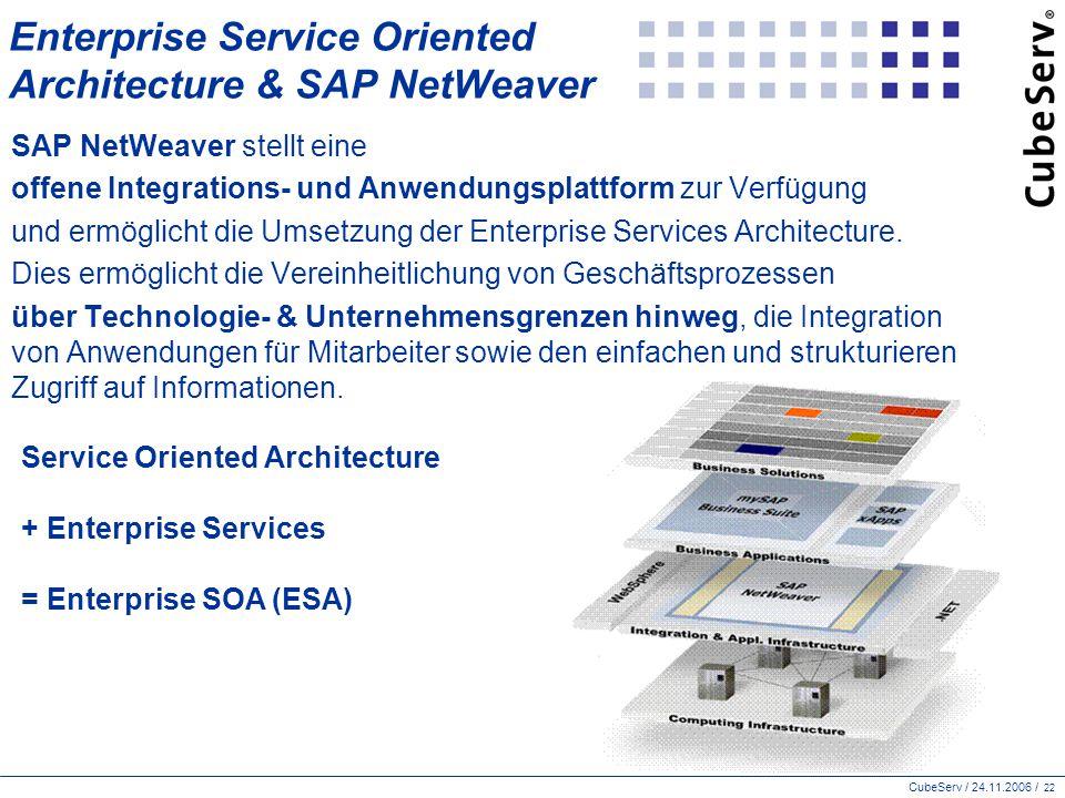 CubeServ / 24.11.2006 / 22 Enterprise Service Oriented Architecture & SAP NetWeaver SAP NetWeaver stellt eine offene Integrations- und Anwendungsplattform zur Verfügung und ermöglicht die Umsetzung der Enterprise Services Architecture.