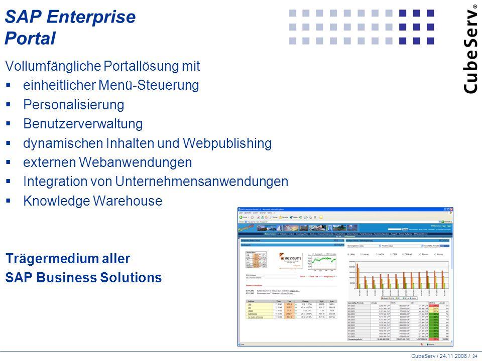 CubeServ / 24.11.2006 / 34 SAP Enterprise Portal Vollumfängliche Portallösung mit  einheitlicher Menü-Steuerung  Personalisierung  Benutzerverwaltung  dynamischen Inhalten und Webpublishing  externen Webanwendungen  Integration von Unternehmensanwendungen  Knowledge Warehouse Trägermedium aller SAP Business Solutions