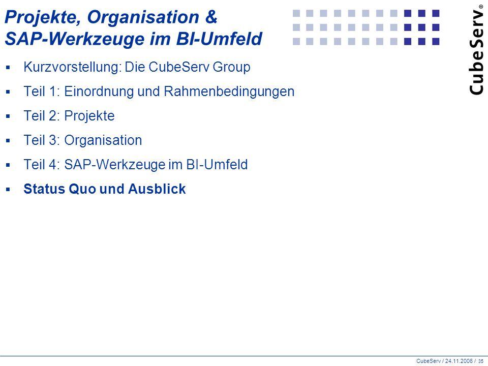 CubeServ / 24.11.2006 / 35 Projekte, Organisation & SAP-Werkzeuge im BI-Umfeld  Kurzvorstellung: Die CubeServ Group  Teil 1: Einordnung und Rahmenbedingungen  Teil 2: Projekte  Teil 3: Organisation  Teil 4: SAP-Werkzeuge im BI-Umfeld  Status Quo und Ausblick