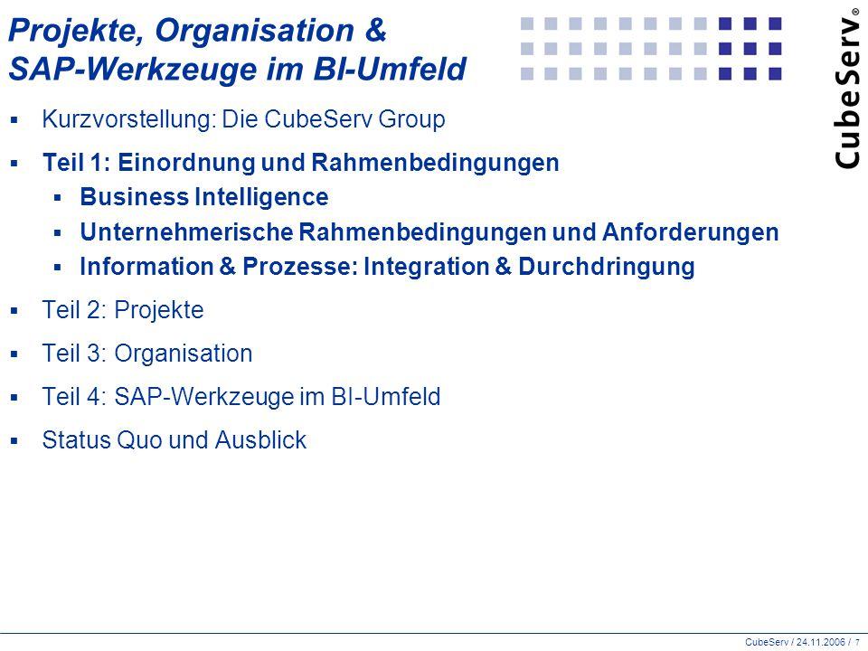 CubeServ / 24.11.2006 / 28 SAP BI: Datenbeschaffung – Integration & Metadaten