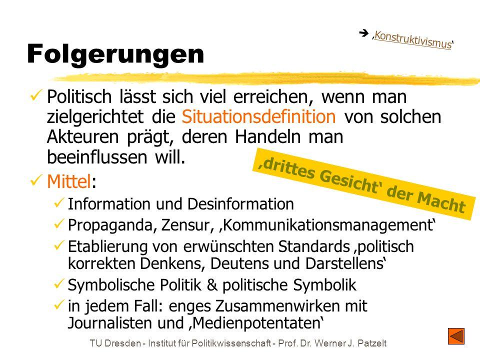 TU Dresden - Institut für Politikwissenschaft - Prof. Dr. Werner J. Patzelt Folgerungen Politisch lässt sich viel erreichen, wenn man zielgerichtet di