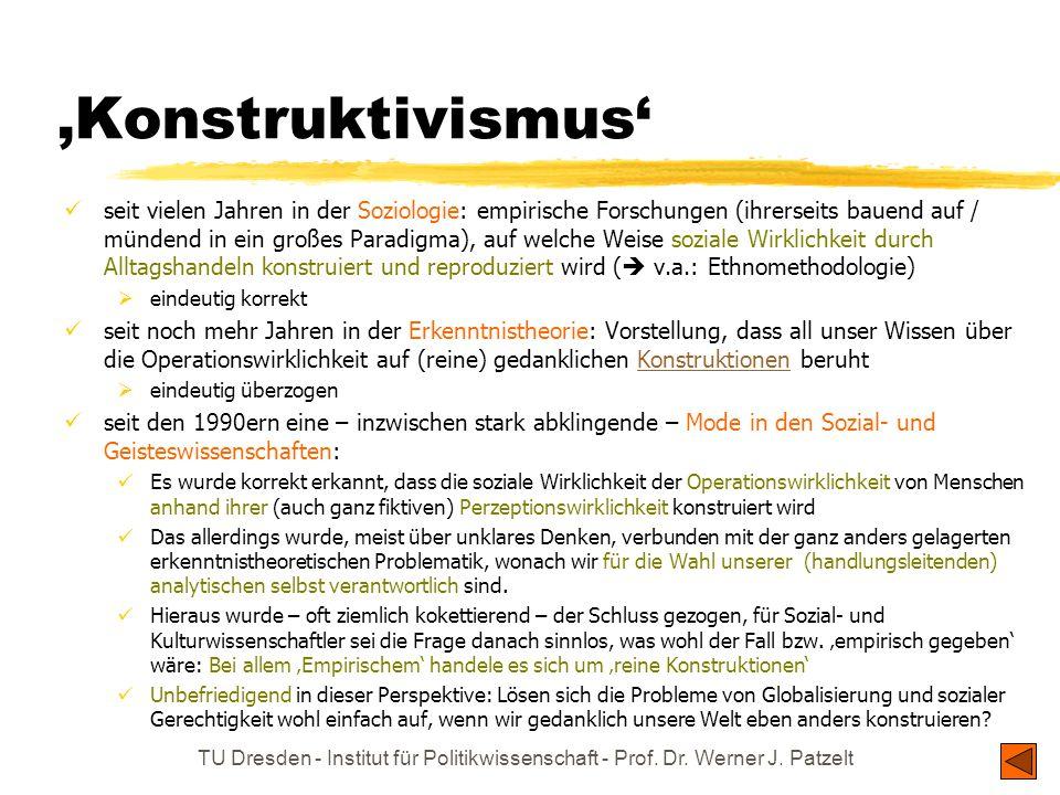 'Konstruktivismus' seit vielen Jahren in der Soziologie: empirische Forschungen (ihrerseits bauend auf / mündend in ein großes Paradigma), auf welche