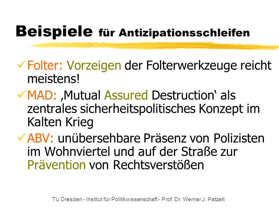 TU Dresden - Institut für Politikwissenschaft - Prof. Dr. Werner J. Patzelt Beispiele für Antizipationsschleifen Folter: Vorzeigen der Folterwerkzeuge