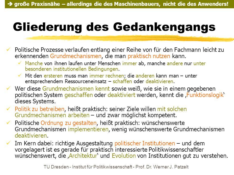 TU Dresden - Institut für Politikwissenschaft - Prof. Dr. Werner J. Patzelt Gliederung des Gedankengangs Politische Prozesse verlaufen entlang einer R