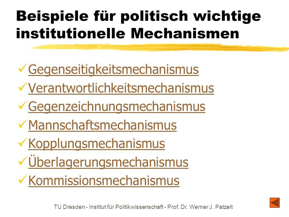 TU Dresden - Institut für Politikwissenschaft - Prof. Dr. Werner J. Patzelt Beispiele für politisch wichtige institutionelle Mechanismen Gegenseitigke