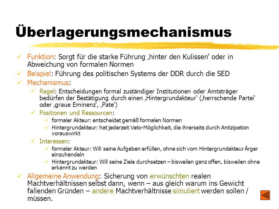 TU Dresden - Institut für Politikwissenschaft - Prof. Dr. Werner J. Patzelt Überlagerungsmechanismus Funktion: Sorgt für die starke Führung 'hinter de