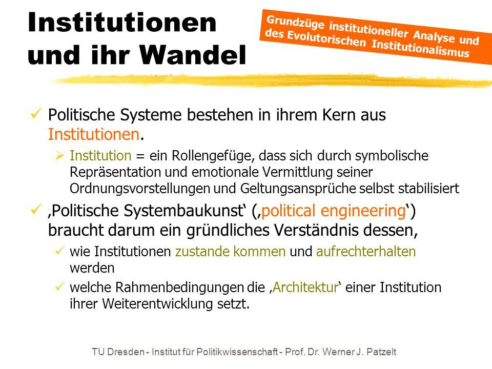 TU Dresden - Institut für Politikwissenschaft - Prof. Dr. Werner J. Patzelt Institutionen und ihr Wandel Politische Systeme bestehen in ihrem Kern aus