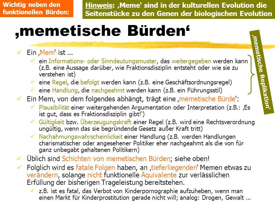 TU Dresden - Institut für Politikwissenschaft - Prof. Dr. Werner J. Patzelt 'memetische Bürden' Ein 'Mem' ist... ein Informations- oder Sinndeutungsmu
