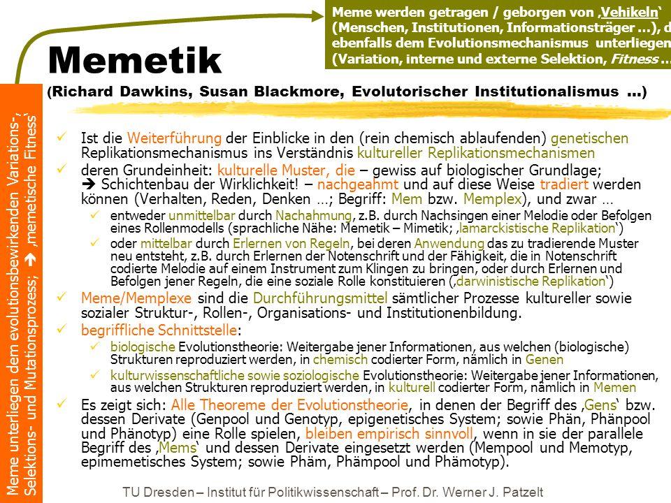 Meme unterliegen dem evolutionsbewirkenden Variations-, Selektions- und Mutationsprozess;  'memetische Fitness' TU Dresden – Institut für Politikwiss