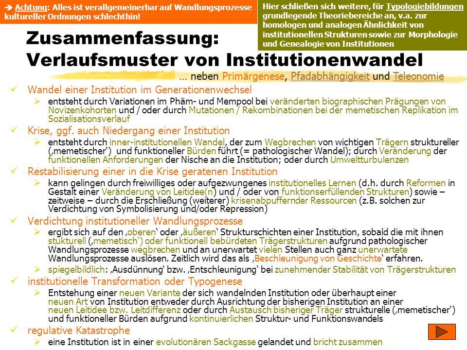 TU Dresden – Institut für Politikwissenschaft – Prof. Dr. Werner J. Patzelt Zusammenfassung: Verlaufsmuster von Institutionenwandel Wandel einer Insti