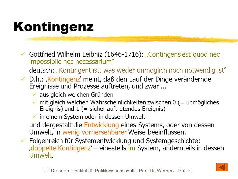 """TU Dresden – Institut für Politikwissenschaft – Prof. Dr. Werner J. Patzelt Kontingenz Gottfried Wilhelm Leibniz (1646-1716): """"Contingens est quod nec"""