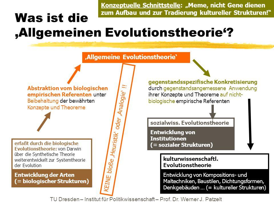 Was ist die 'Allgemeinen Evolutionstheorie'? Entwicklung der Arten (= biologischer Strukturen) Entwicklung von Institutionen (= sozialer Strukturen) e
