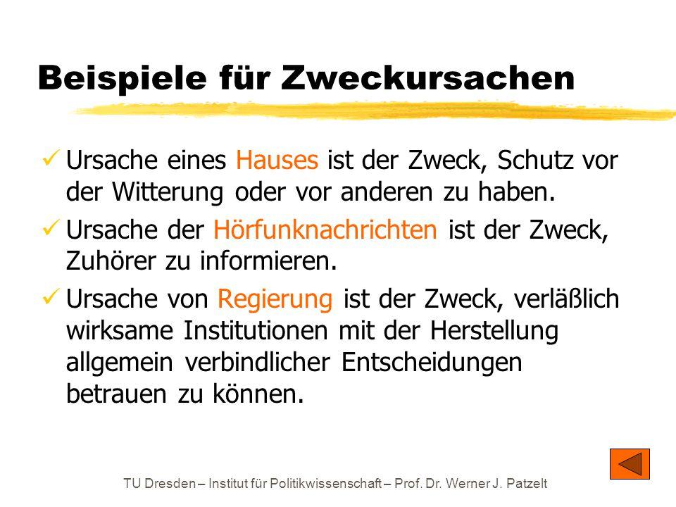 TU Dresden – Institut für Politikwissenschaft – Prof. Dr. Werner J. Patzelt Beispiele für Zweckursachen Ursache eines Hauses ist der Zweck, Schutz vor