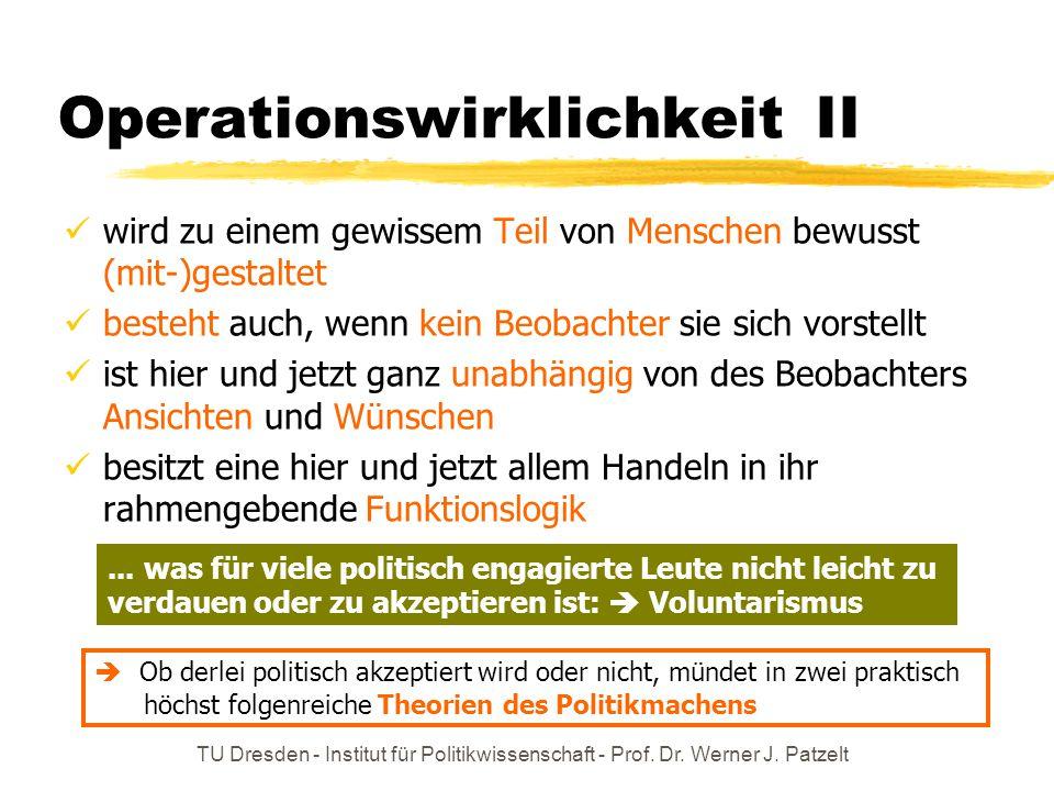 TU Dresden - Institut für Politikwissenschaft - Prof. Dr. Werner J. Patzelt Operationswirklichkeit II wird zu einem gewissem Teil von Menschen bewusst