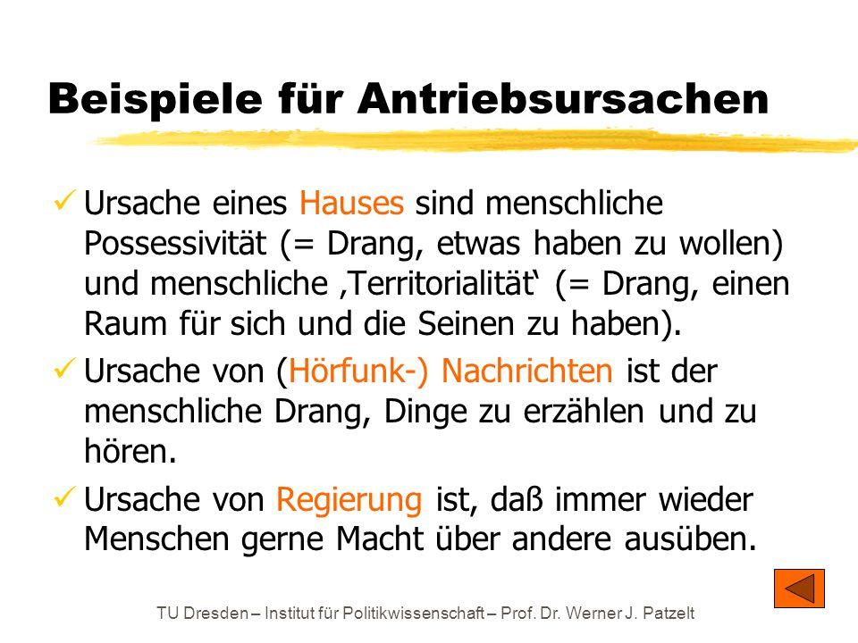 TU Dresden – Institut für Politikwissenschaft – Prof. Dr. Werner J. Patzelt Beispiele für Antriebsursachen Ursache eines Hauses sind menschliche Posse