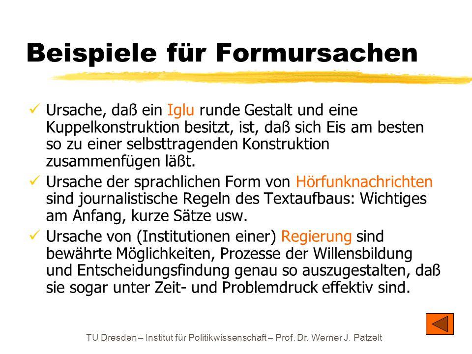 TU Dresden – Institut für Politikwissenschaft – Prof. Dr. Werner J. Patzelt Beispiele für Formursachen Ursache, daß ein Iglu runde Gestalt und eine Ku