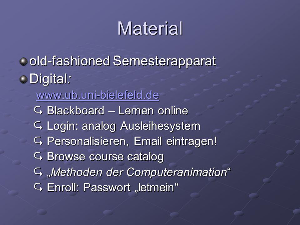 Material old-fashioned Semesterapparat Digital: www.ub.uni-bielefeld.de www.ub.uni-bielefeld.dewww.ub.uni-bielefeld.de  Blackboard – Lernen online  Login: analog Ausleihesystem  Personalisieren, Email eintragen.
