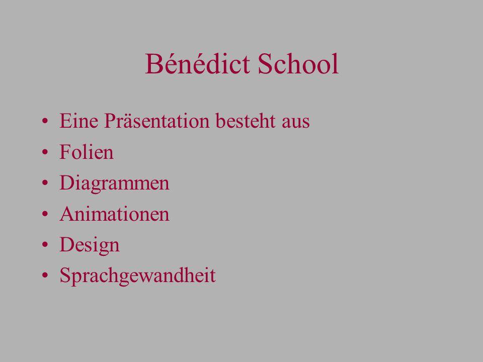 Bénédict School Eine Präsentation besteht aus Folien Diagrammen Animationen Design Sprachgewandheit