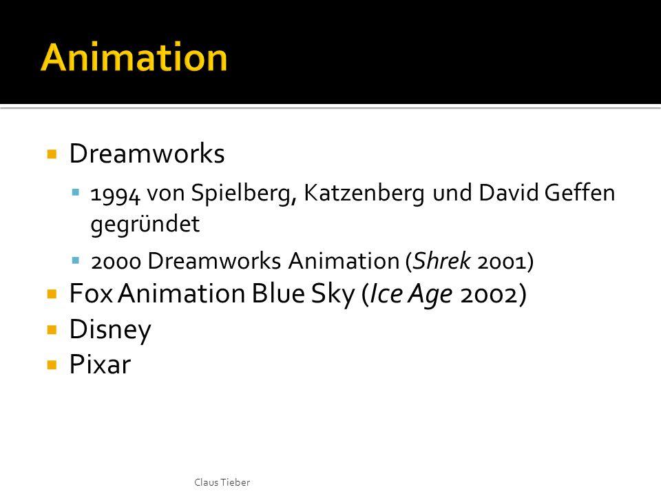  Dreamworks  1994 von Spielberg, Katzenberg und David Geffen gegründet  2000 Dreamworks Animation (Shrek 2001)  Fox Animation Blue Sky (Ice Age 20
