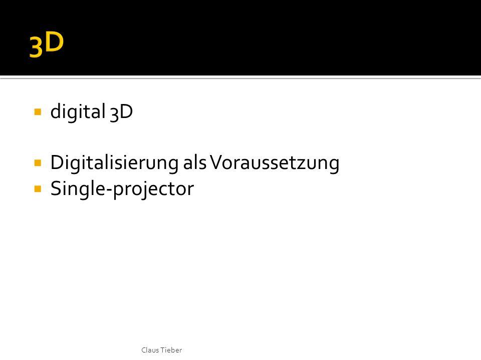  digital 3D  Digitalisierung als Voraussetzung  Single-projector Claus Tieber