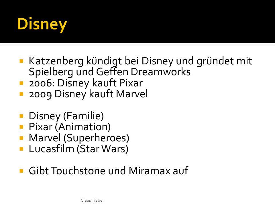  Katzenberg kündigt bei Disney und gründet mit Spielberg und Geffen Dreamworks  2006: Disney kauft Pixar  2009 Disney kauft Marvel  Disney (Famili