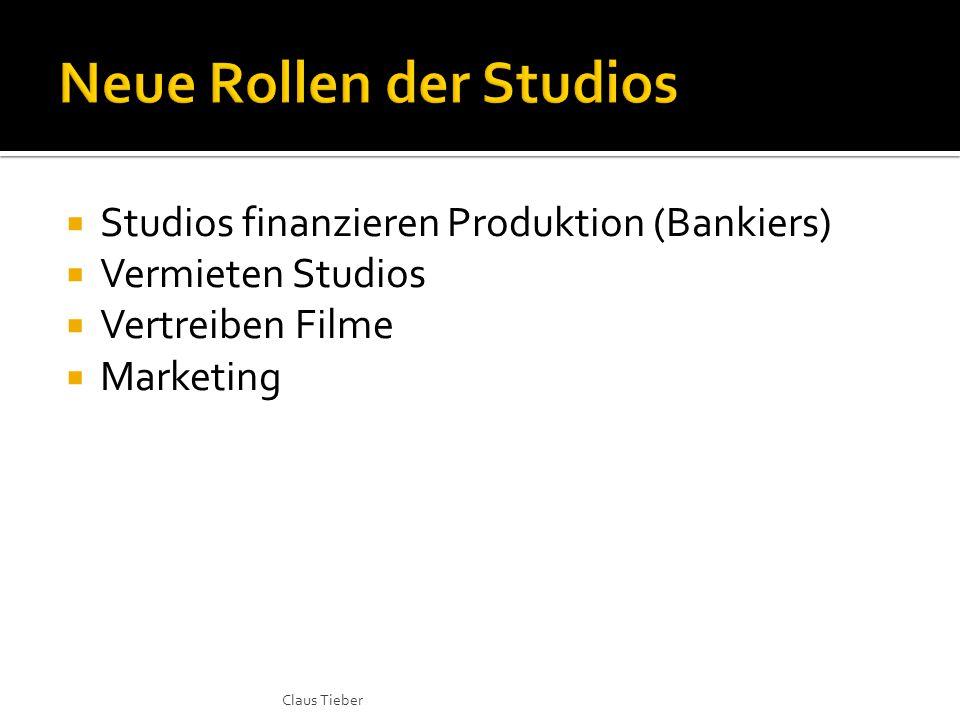  Studios finanzieren Produktion (Bankiers)  Vermieten Studios  Vertreiben Filme  Marketing Claus Tieber