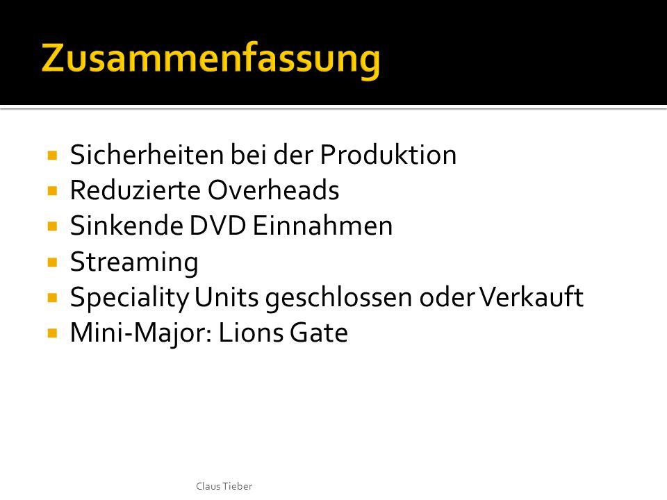  Sicherheiten bei der Produktion  Reduzierte Overheads  Sinkende DVD Einnahmen  Streaming  Speciality Units geschlossen oder Verkauft  Mini-Majo