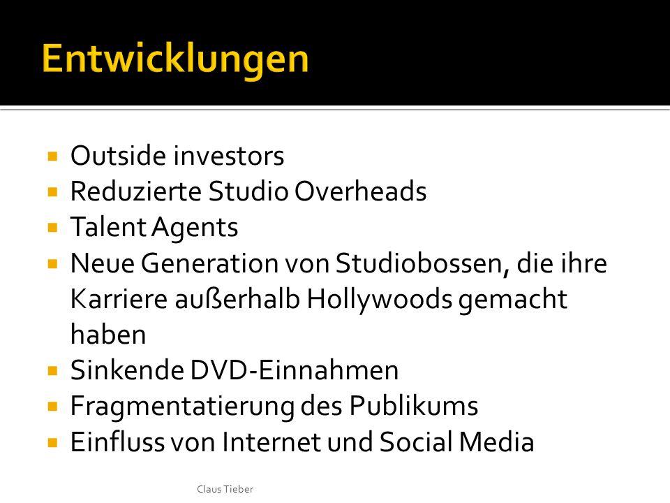  Outside investors  Reduzierte Studio Overheads  Talent Agents  Neue Generation von Studiobossen, die ihre Karriere außerhalb Hollywoods gemacht h
