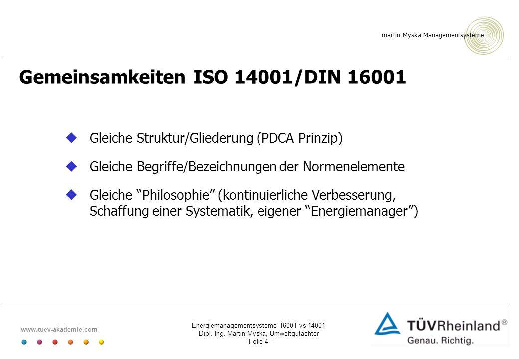 martin Myska Managementsysteme www.tuev-akademie.com Energiemanagementsysteme 16001 vs 14001 Dipl.-Ing. Martin Myska, Umweltgutachter - Folie 4 - Geme