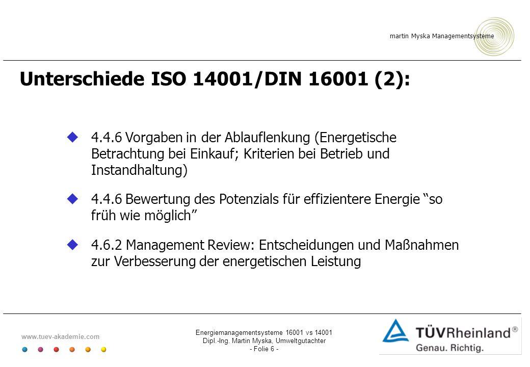 martin Myska Managementsysteme www.tuev-akademie.com Energiemanagementsysteme 16001 vs 14001 Dipl.-Ing. Martin Myska, Umweltgutachter - Folie 6 - Unte
