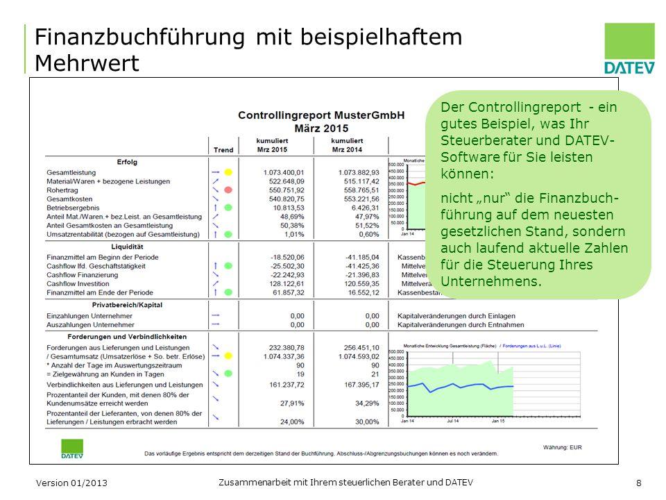 Zusammenarbeit mit Ihrem steuerlichen Berater und DATEV 8 Finanzbuchführung mit beispielhaftem Mehrwert Version 01/2013 Der Controllingreport - ein gu