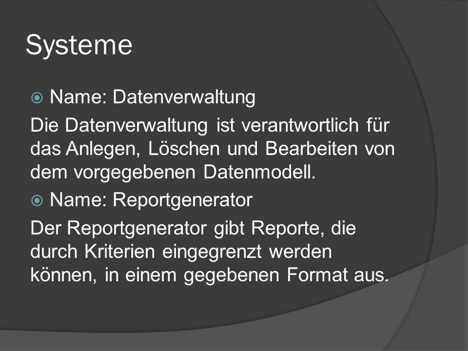 Systeme  Name: Datenverwaltung Die Datenverwaltung ist verantwortlich für das Anlegen, Löschen und Bearbeiten von dem vorgegebenen Datenmodell.  Nam