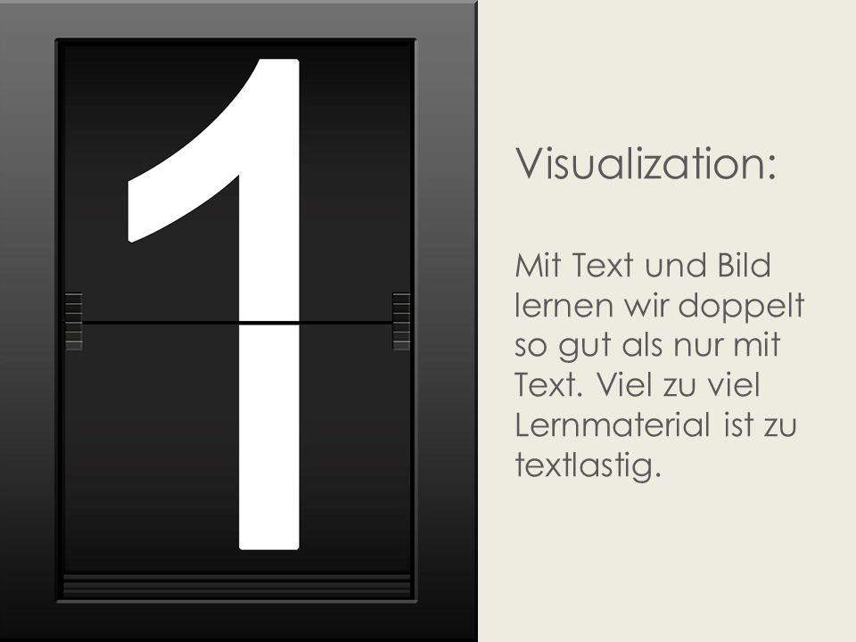 Visualization: Mit Text und Bild lernen wir doppelt so gut als nur mit Text. Viel zu viel Lernmaterial ist zu textlastig.