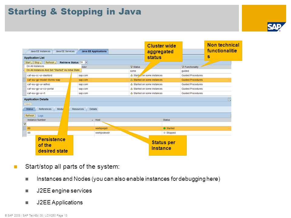 © SAP 2008 / SAP TechEd 08 / LCM260 Page 13 Starting & Stopping in Java Cluster wide aggregated status Non technical functionalitie s Status per Insta