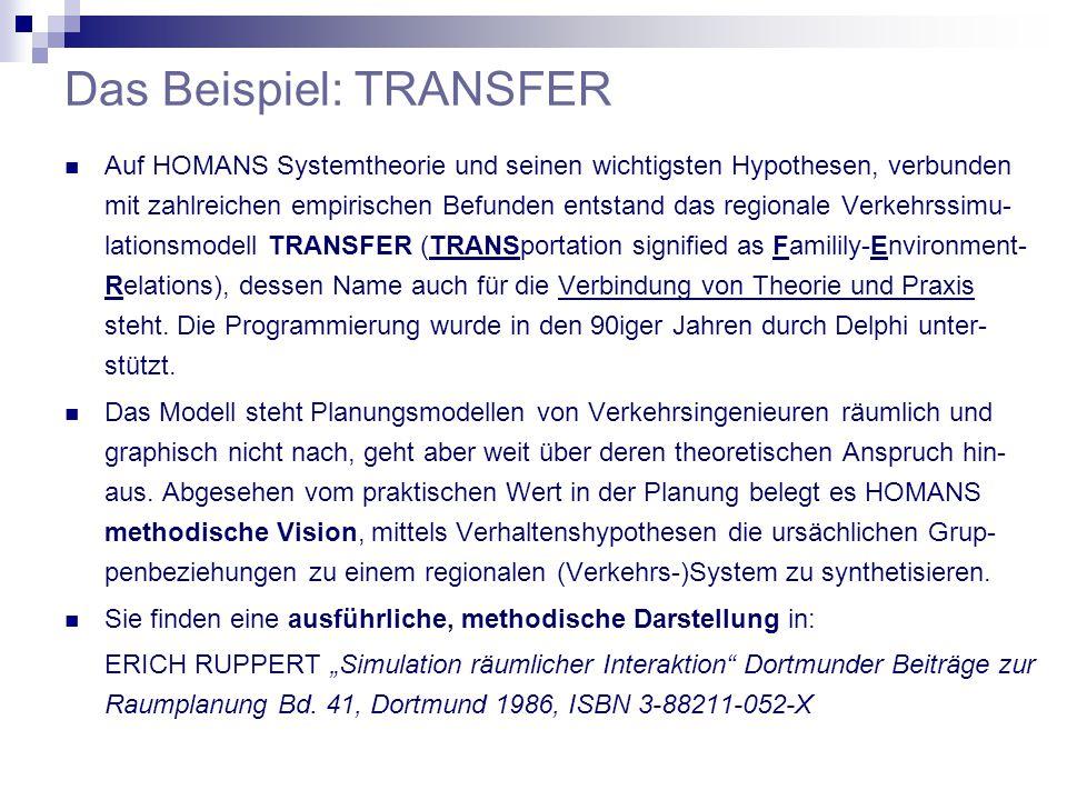 Das Beispiel: TRANSFER Auf HOMANS Systemtheorie und seinen wichtigsten Hypothesen, verbunden mit zahlreichen empirischen Befunden entstand das regionale Verkehrssimu- lationsmodell TRANSFER (TRANSportation signified as Familily-Environment- Relations), dessen Name auch für die Verbindung von Theorie und Praxis steht.