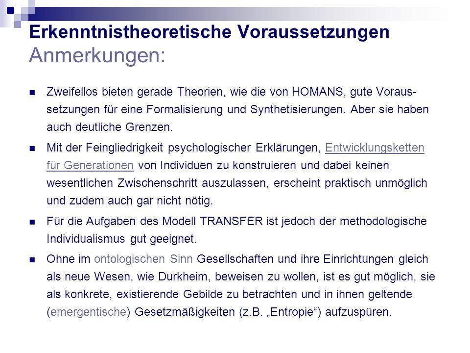 Erkenntnistheoretische Voraussetzungen Anmerkungen: Zweifellos bieten gerade Theorien, wie die von HOMANS, gute Voraus- setzungen für eine Formalisierung und Synthetisierungen.